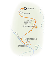 Berlin and Dresden biking map